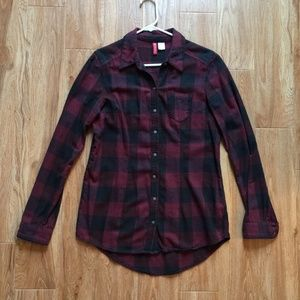 Plaid red and black Button Down Long Sleeve